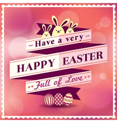 Easter card with ribbon design vector