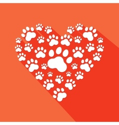 Flat heart with pet paws silhouette vector image