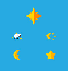 flat icon bedtime set of moon bedtime asterisk vector image vector image