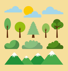 Forest landscape natural mountain tree cloud sun vector