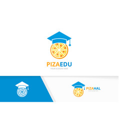 graduate hat and pizza logo combination vector image