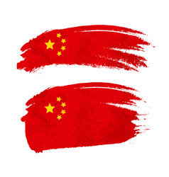 grunge brush stroke with china national flag on vector image vector image