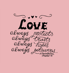 hand lettering love always made with hearts vector image