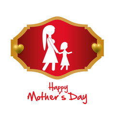 Happy mothers day mom with daughter invitation vector