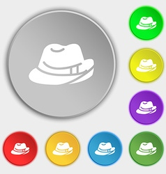Hat icon sign symbol on eight flat buttons vector