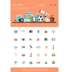 Header with modern flat design hobby icons and vector
