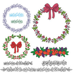 holiday wreath-1 vector image