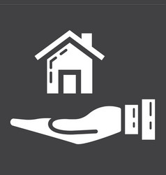 Home in hand glyph icon business and finance buy vector