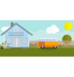 House in nature with apple trees cars flowers vector image