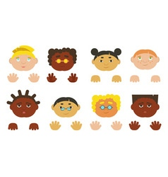 Kids faces and hands Different ethnics isolated vector image