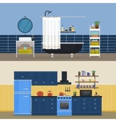 Kitchen interior and bathroom indoor view vector