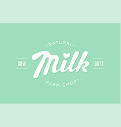lettering milk hand written design for brand vector image