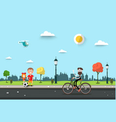Man on bicycle with children on sidewalk flat vector