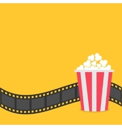Popcorn film strip border red yellow box cinema vector