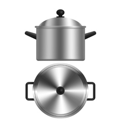 Realistic metal pot or casserole vector