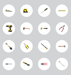 realistic plumb ruler spanner hatchet and other vector image vector image