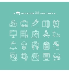 Set of outline education icons vector