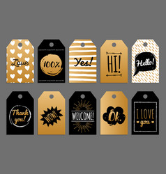 Set of tags and labels with phrases hi vector