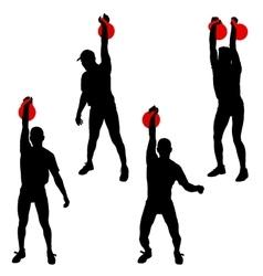 Set silhouette muscular man holding kettle bell vector