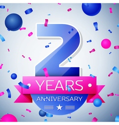 Two years anniversary celebration on grey vector