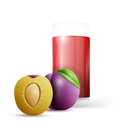 Whole and half plum and glass of juice vector