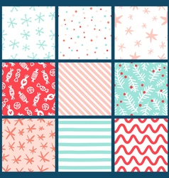 Winter holidays seamless patterns collection vector