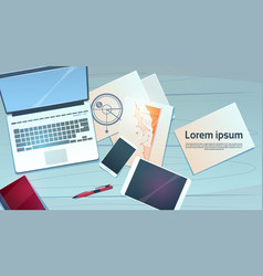 workplace desk laptop finance documents papers vector image vector image