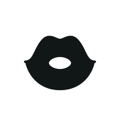 Simple black lips icon on white background vector
