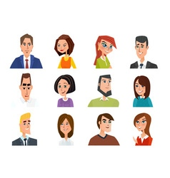 Set of avatar icons business cartoon concept vector