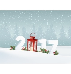 Happy new year 2017 white winter landscape with vector