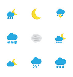 nature flat icons set collection of lightning vector image