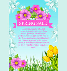 Poster with flowers for spring sale vector