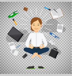 Businesswoman in meditating position vector
