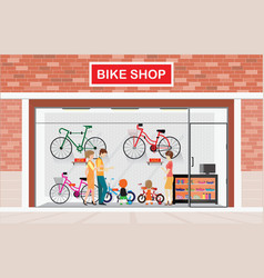 Men and women with kids buying bicycle vector