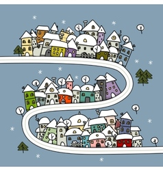 Road and houses winter cityscape cartoon for your vector image