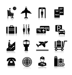 Airport icons black vector