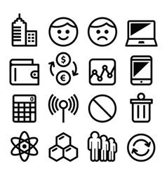 Web menu internet line stroke icons set - tech vector image