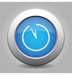 Blue metal button with clock vector