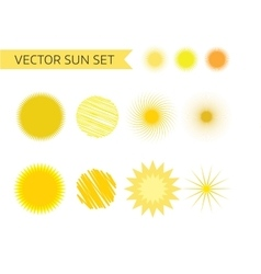 Sun summer and holiday icons set stock vector