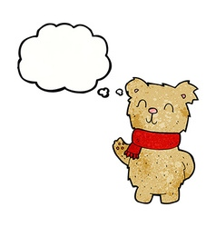Cartoon waving teddy bear with thought bubble vector