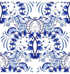Seamless pattern based on porcelain painting gzhel vector