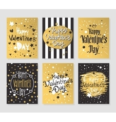 Happy valentines day gold and black greeting cards vector