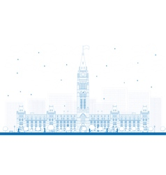 Outline parliament building in ottawa canada vector