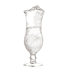 Tropical cocktail sketch icon vector