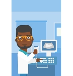 Male ultrasound doctor vector