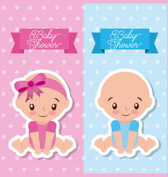 Baby shower greeting card with boy and girl vector