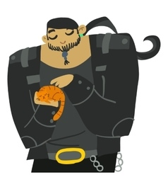 Cartoon huge biker with cute cat vector