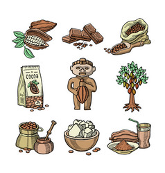 cocoa products handdrawn sketch icons vector image