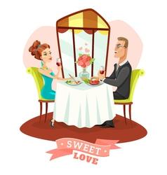 Couple Having Romantic Dinner In Restaurant vector image