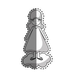 Figure woman in cloud with dress vector
